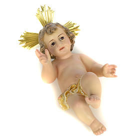 Gesù Bambino 20 cm in pasta di legno dec. extra s4