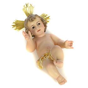 Gesù Bambino 20 cm in pasta di legno dec. extra s5