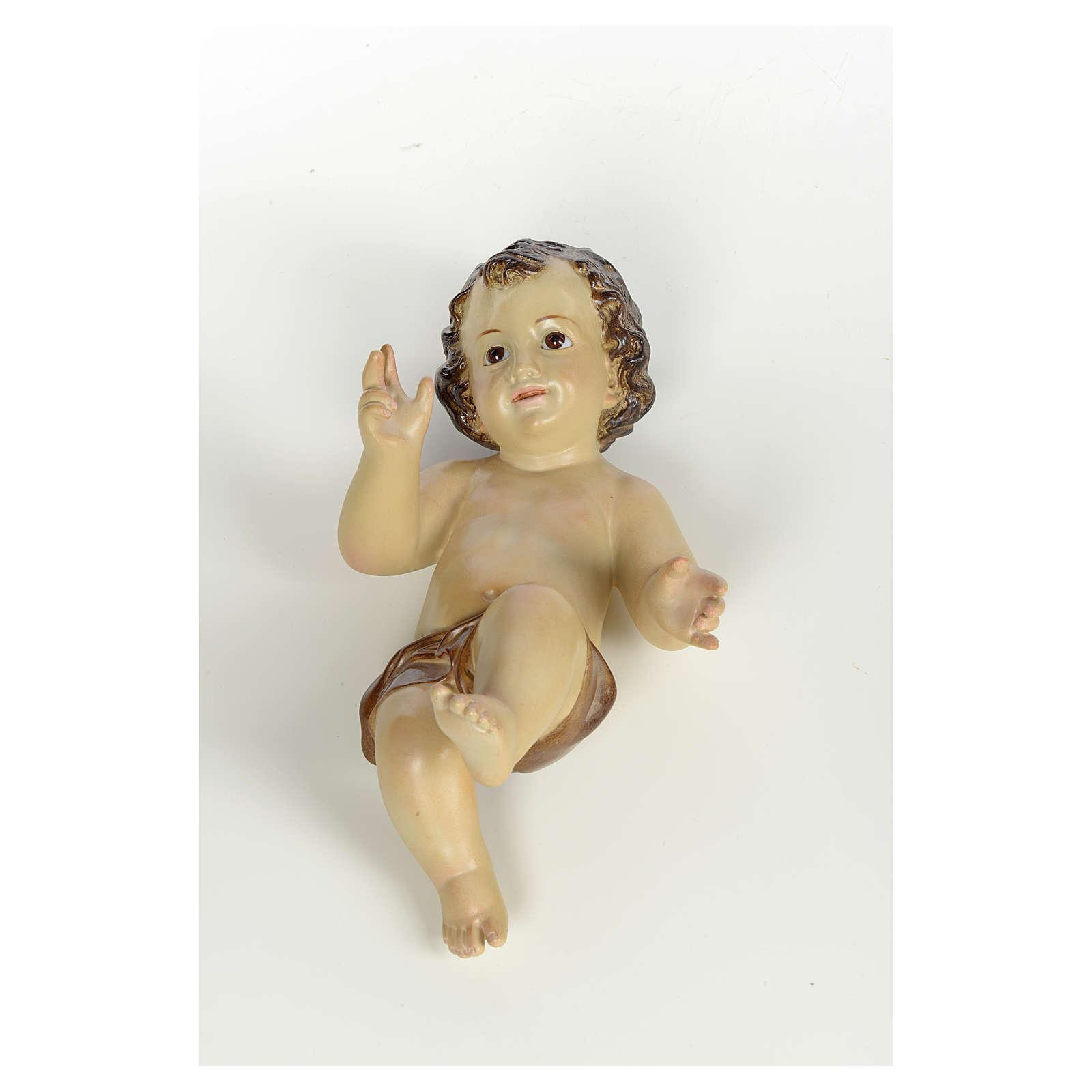 Baby Jesus in wood pulp, 25cm (burnished decor.) 3