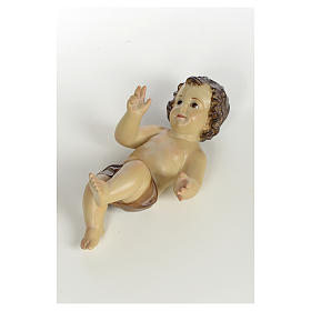 Baby Jesus in wood pulp, 25cm (burnished decor.) s4