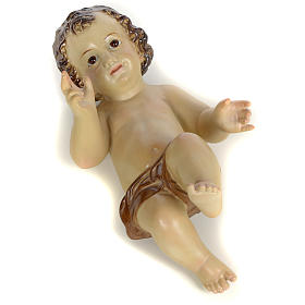 Baby Jesus in wood pulp, 25cm (burnished decor.) s5