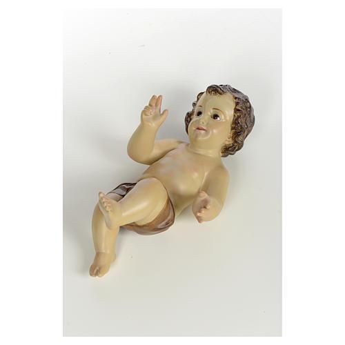 Baby Jesus in wood pulp, 25cm (burnished decor.) 4