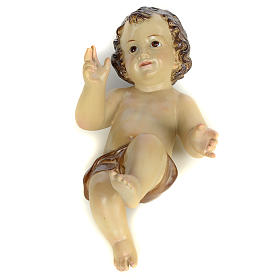 Baby Jesus figurines: Baby Jesus in wood pulp, 25cm (burnished decor.)