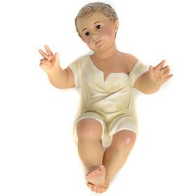 Gesù Bambino 35 cm in pasta di legno dec. fine s7