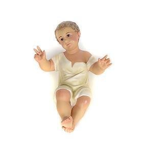 Gesù Bambino 35 cm in pasta di legno dec. fine s8