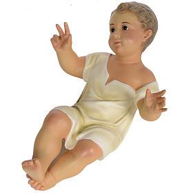 Gesù Bambino 35 cm in pasta di legno dec. fine s10