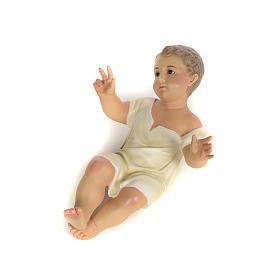 Gesù Bambino 35 cm in pasta di legno dec. fine s9