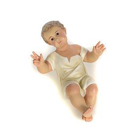 Gesù Bambino 35 cm in pasta di legno dec. fine s11
