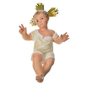 Gesù Bambino 35 cm in pasta di legno dec. fine s13