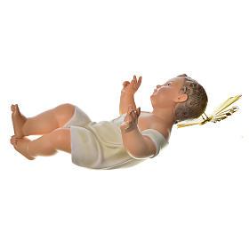 Gesù Bambino 35 cm in pasta di legno dec. fine s4