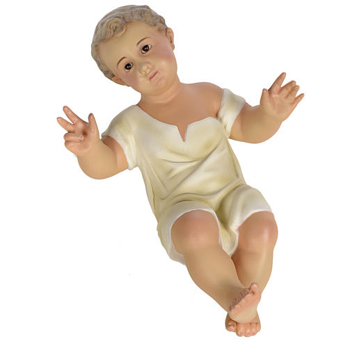 Gesù Bambino 35 cm in pasta di legno dec. fine 12