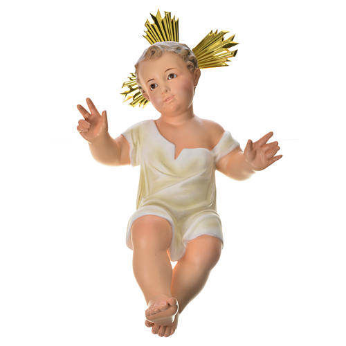 Gesù Bambino 35 cm in pasta di legno dec. fine 13
