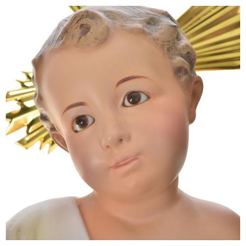 Gesù Bambino 35 cm in pasta di legno dec. fine 14