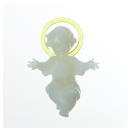 Baby Jesus 5cm in florescent plastic with aureola 4