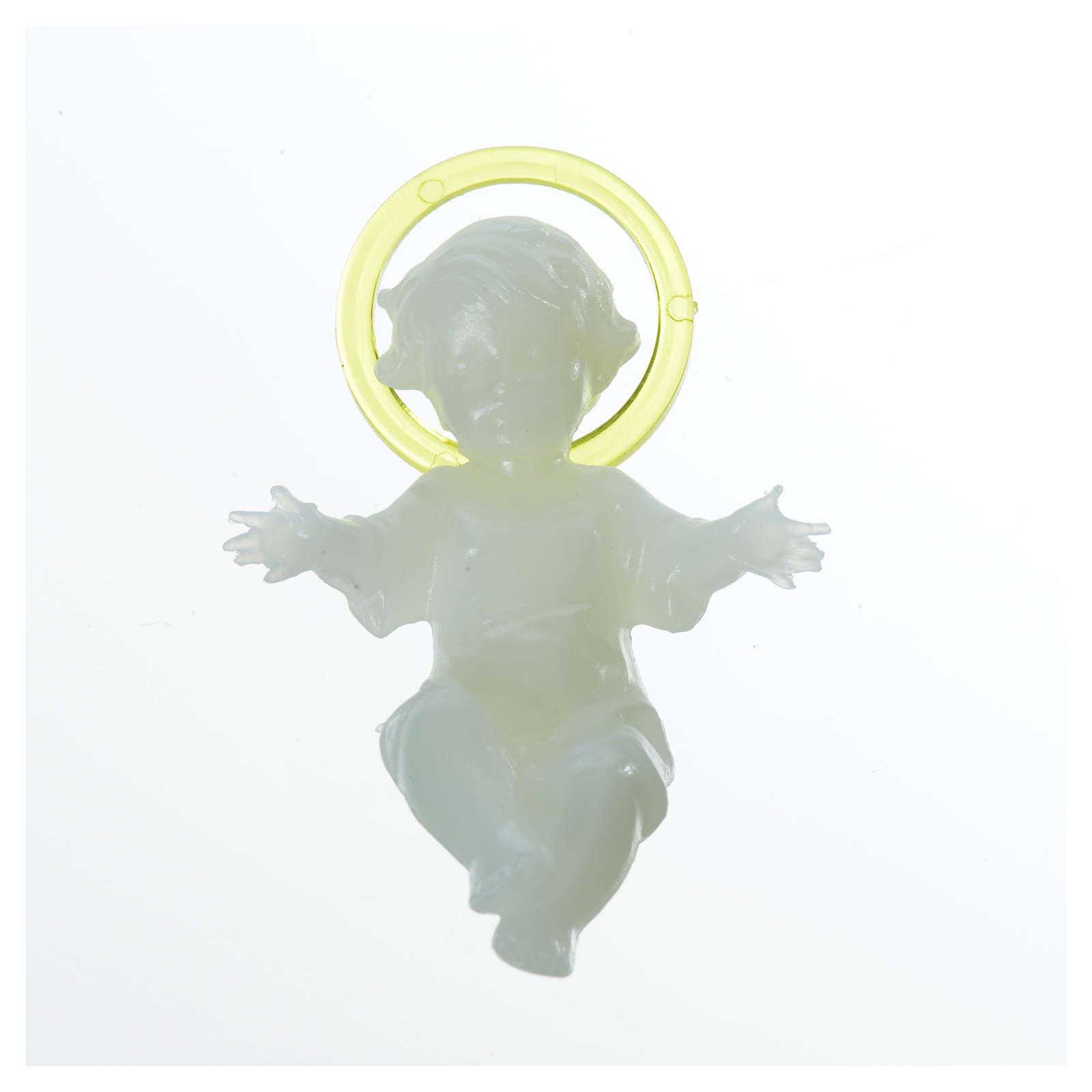 5 cm Baby Jesus with aureola in florescent plastic 3