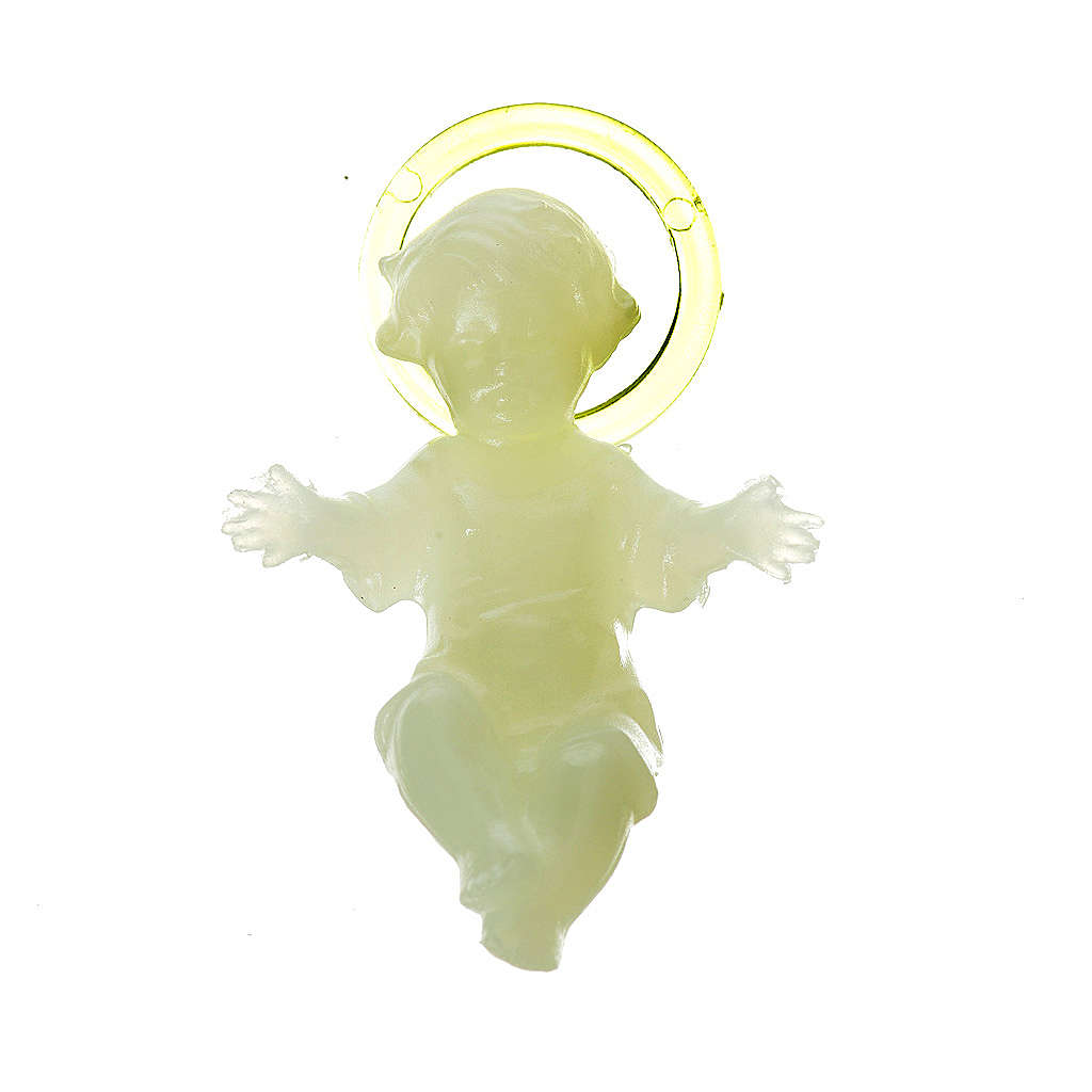 Baby Jesus 5cm in florescent plastic with aureola 3