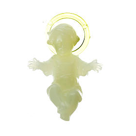 Baby Jesus 5cm in florescent plastic with aureola s1
