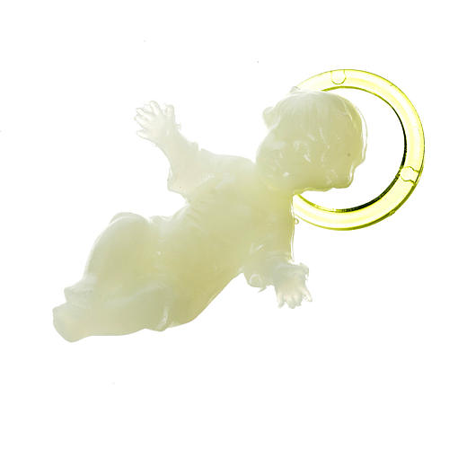 Baby Jesus 5cm in florescent plastic with aureola 2