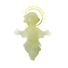 Florescent Baby Jesus figurine in plastic, 4 cm s1