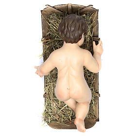 Enfant Jésus terre cuite yeux en verre 35 cm de longueur réelle s2