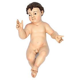 Enfant Jésus terre cuite yeux en verre 35 cm de longueur réelle s3