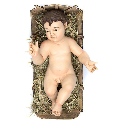 Enfant Jésus terre cuite yeux en verre 35 cm de longueur réelle 1