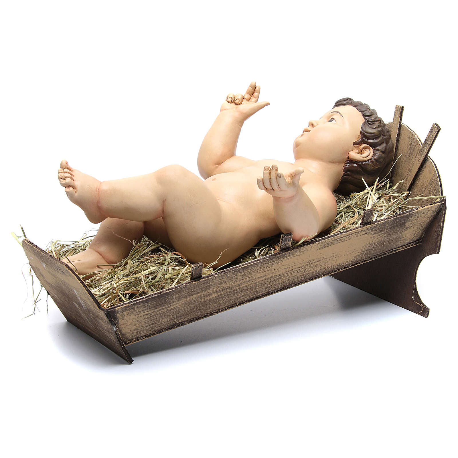 Baby Jesus with fingers pointing up, terracotta with glass eyes 4