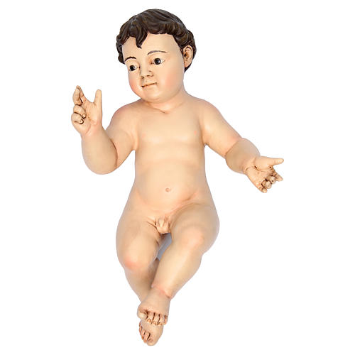 Baby Jesus with fingers pointing up, terracotta with glass eyes 3