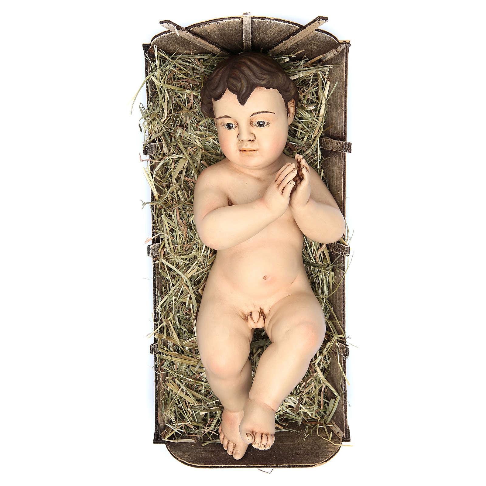 Bambinello 35 cm (misura reale) preghiera terracotta occhi vetro 4