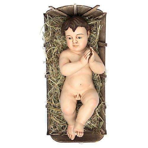 Bambinello 35 cm (misura reale) preghiera terracotta occhi vetro 1