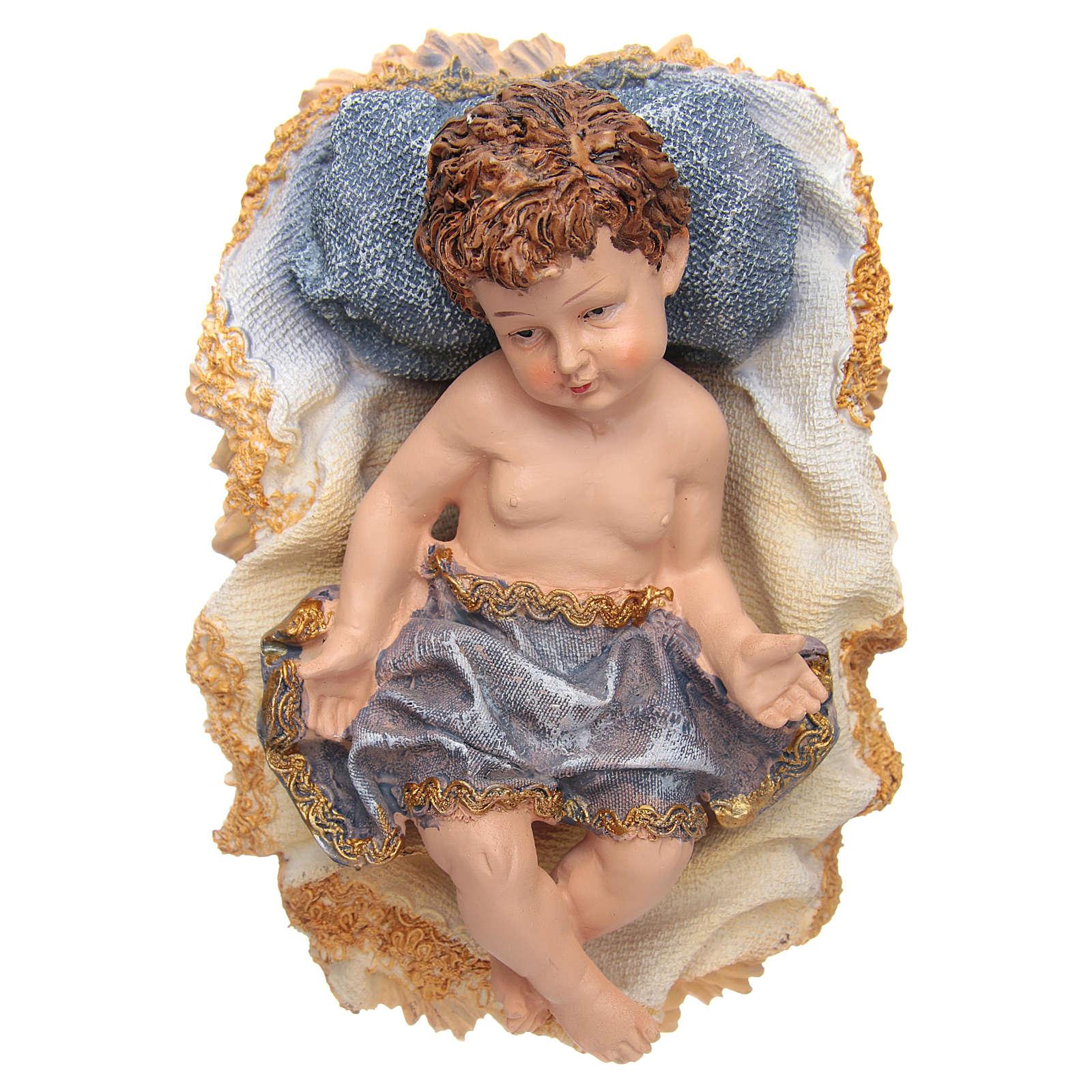 Gesù Bambino in culla resina h 17,5 cm 3