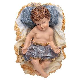 Gesù Bambino in culla resina h 17,5 cm s1