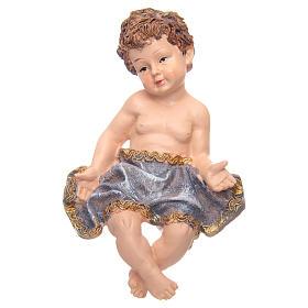 Gesù Bambino in culla resina h 17,5 cm s3