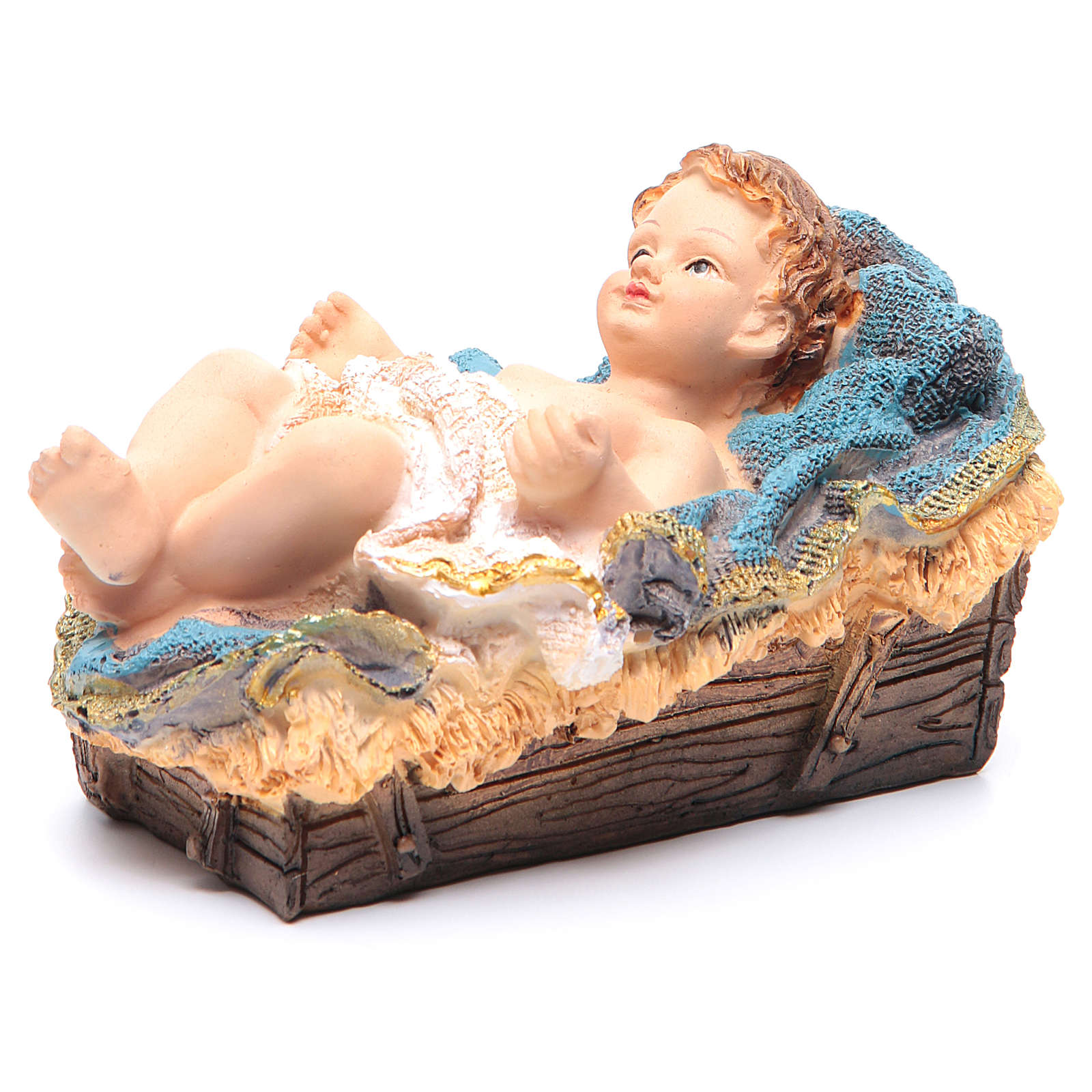 Gesù Bambino in culla resina h 15 cm 3