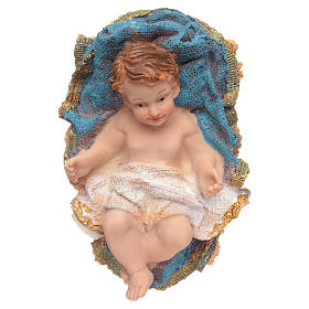 Gesù Bambino in culla resina h 15 cm s1