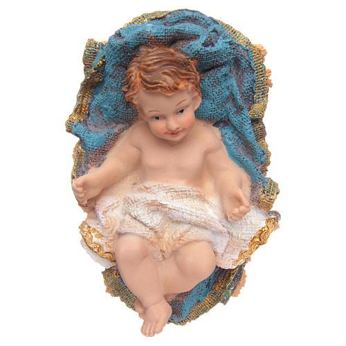 Gesù Bambino in culla resina h 15 cm 1
