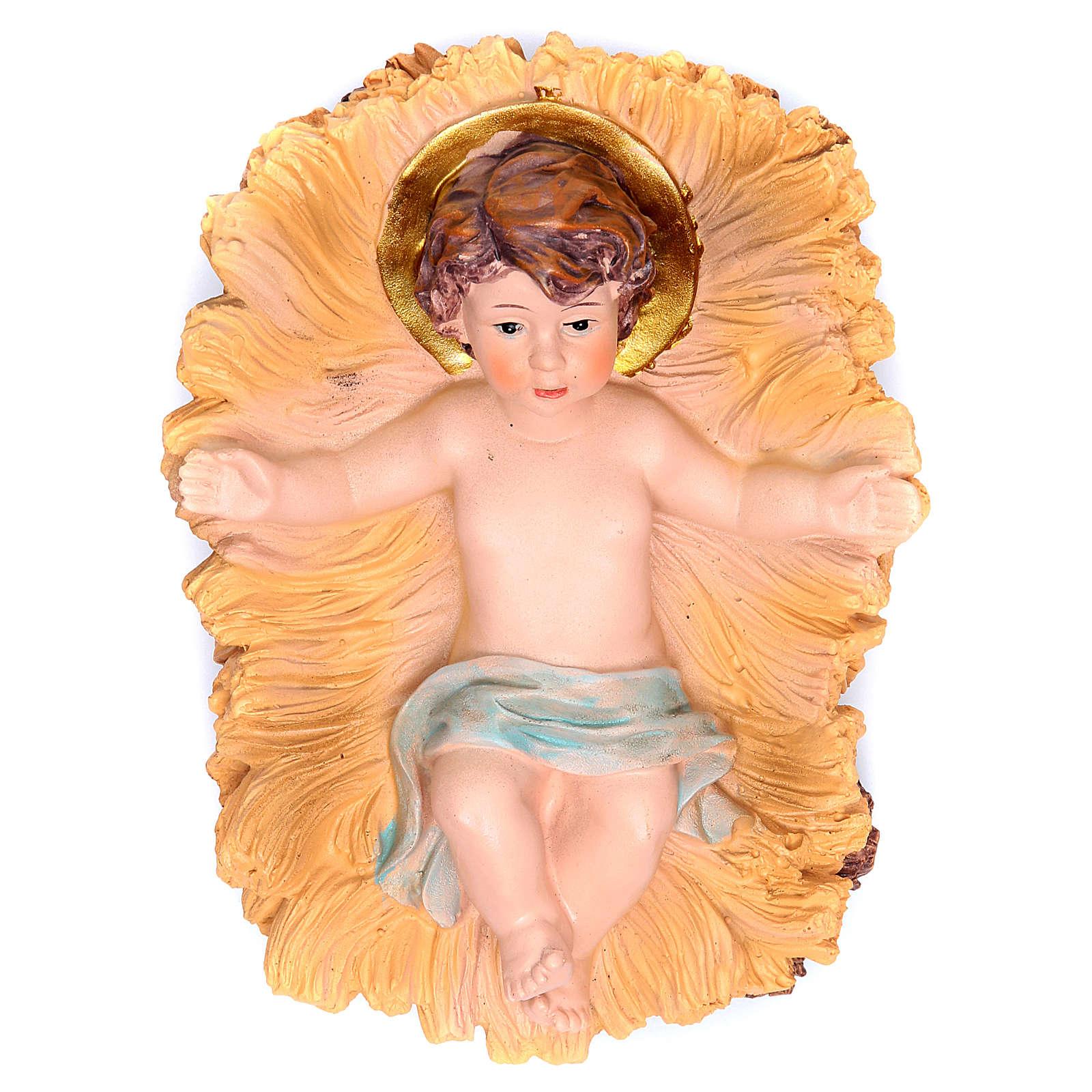 Enfant Jésus dans sa crèche en résine h 19 3