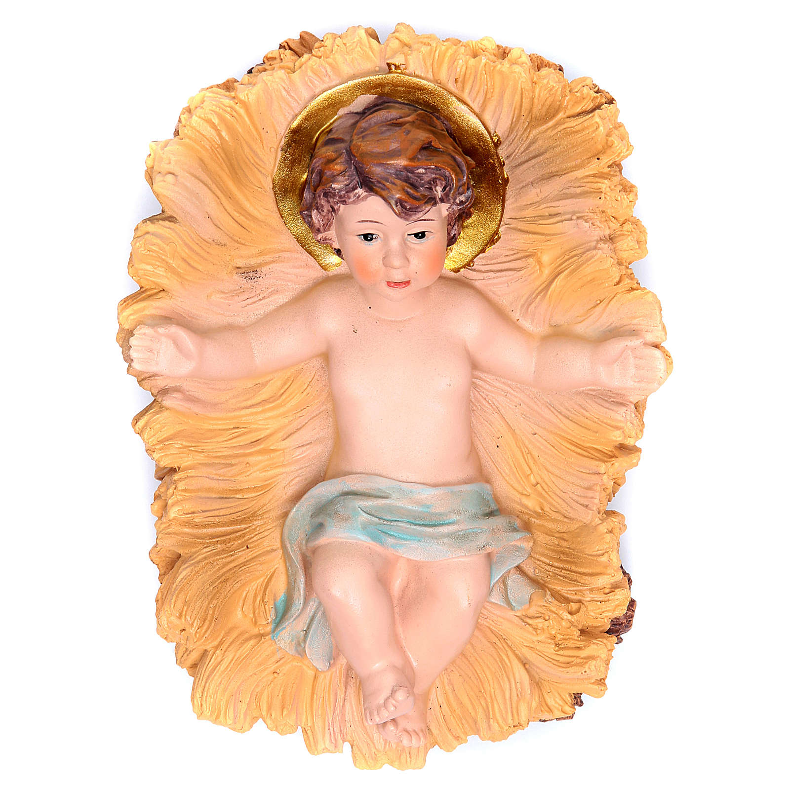 Gesù Bambino in culla resina h 19 cm 3
