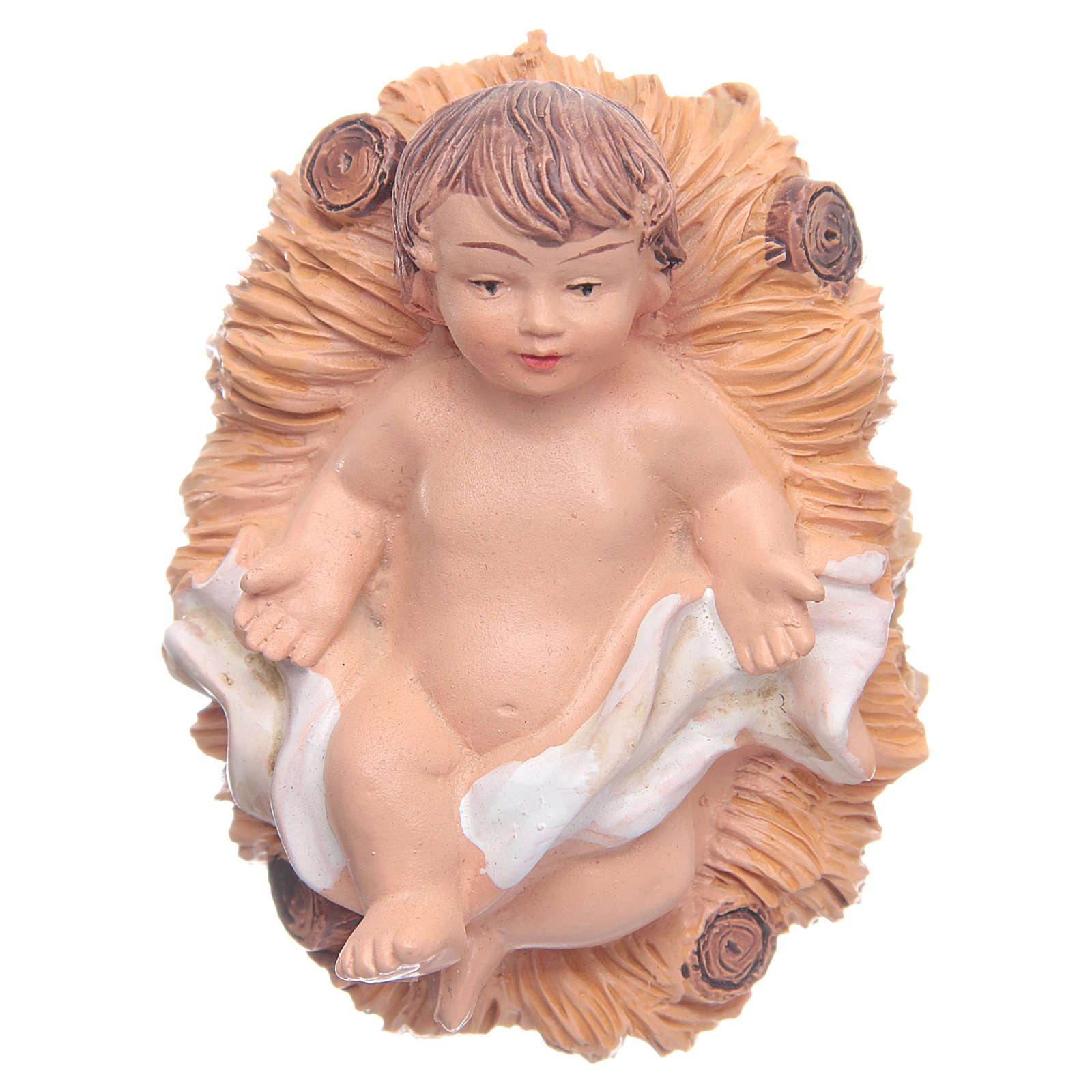Enfant Jésus dans sa crèche en résine h 2,5 3