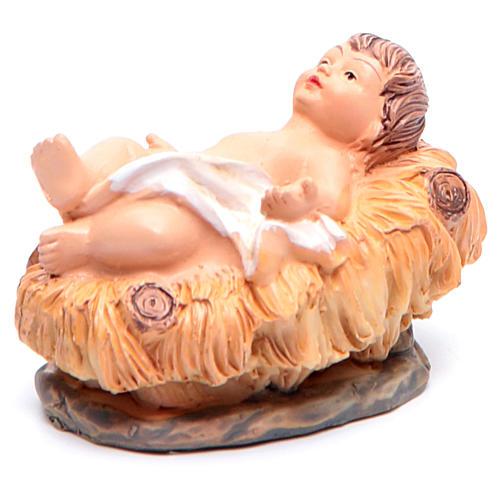 Enfant Jésus dans sa crèche en résine h 2,5 2