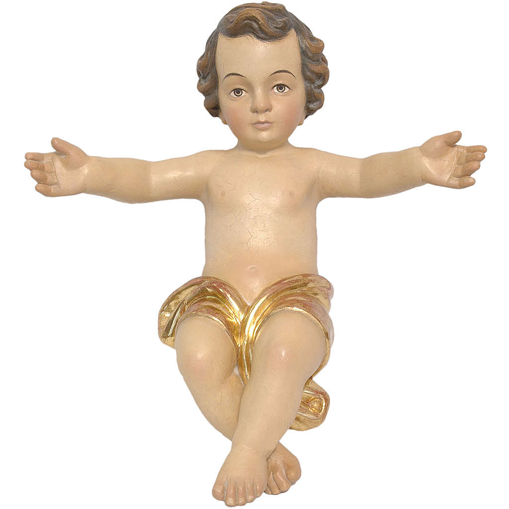 Baby Jesus made of Valgardena wood, antique gold finish 3