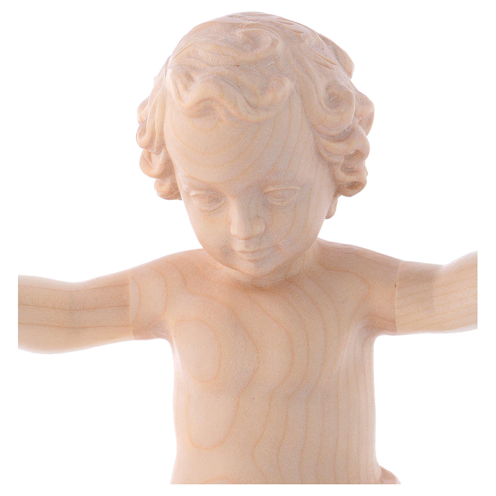 Gesù Bambino legno Valgardena fin. Naturale cerata 3