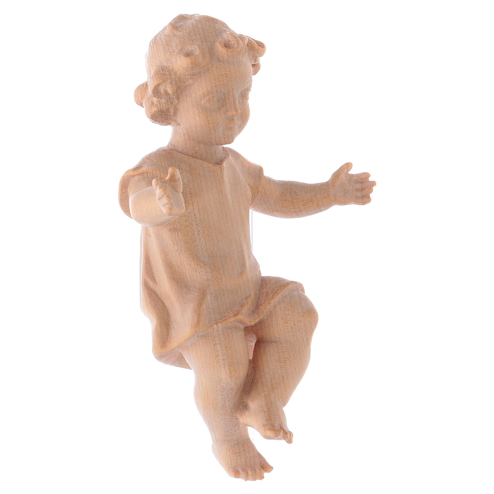 Baby Jesus with clothes in Valgardena wood, natural wax finish 3