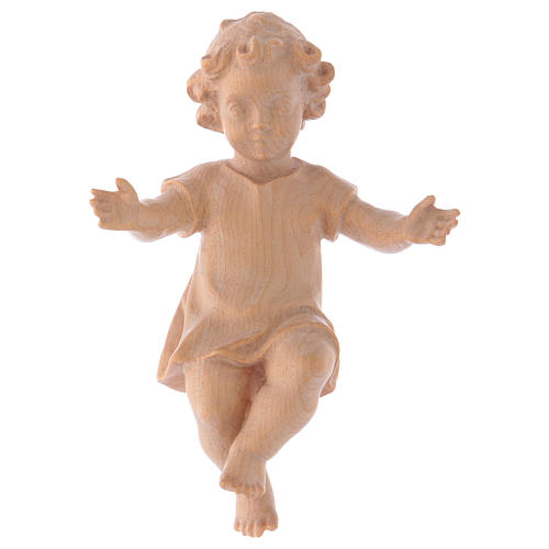 Baby Jesus with clothes in Valgardena wood, natural wax finish 1