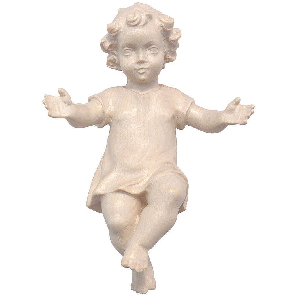 Gesù Bambino vestito legno Valgardena naturale cerato 3