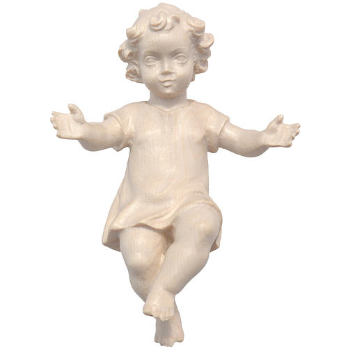 Gesù Bambino vestito legno Valgardena naturale cerato 1