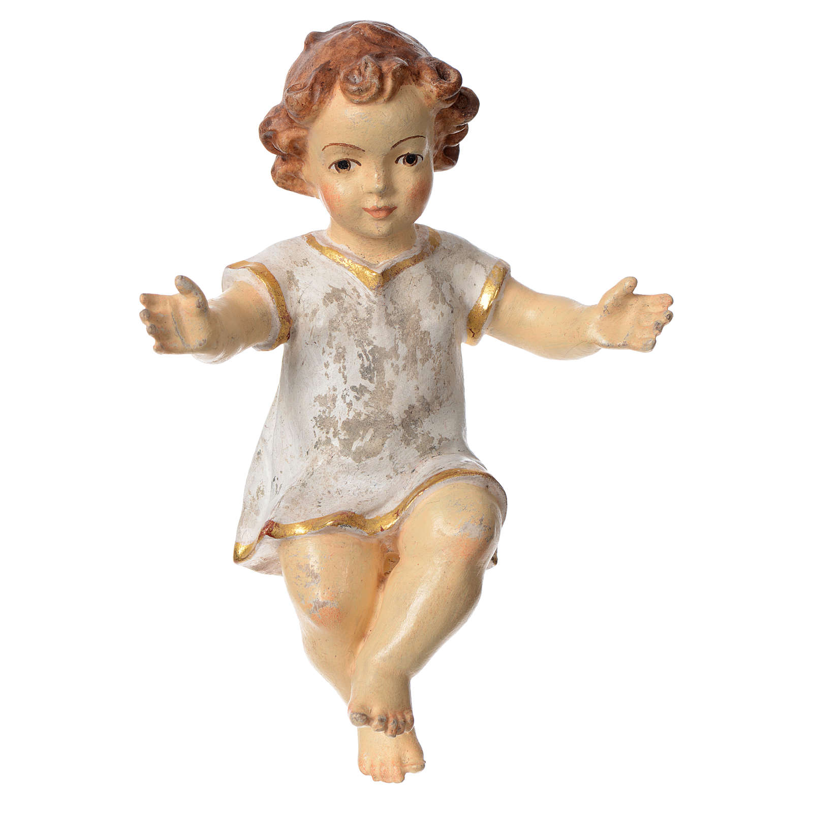 Baby Jesus with clothes in Valgardena wood, old antique gold fin 3