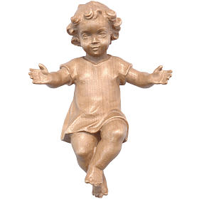 Baby Jesus with clothes in Valgardena wood, patinated s1