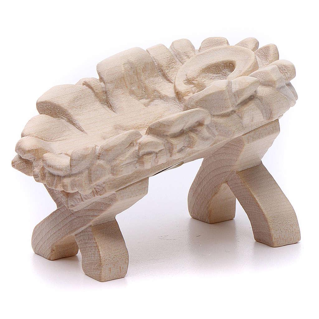 Culla Gesù Bambino 7cm legno Valgardena naturale cerato 3