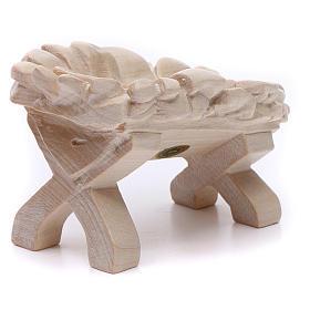 Culla Gesù Bambino 7cm legno Valgardena naturale cerato s3
